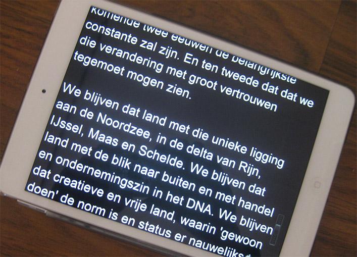 Autocue op de iPad